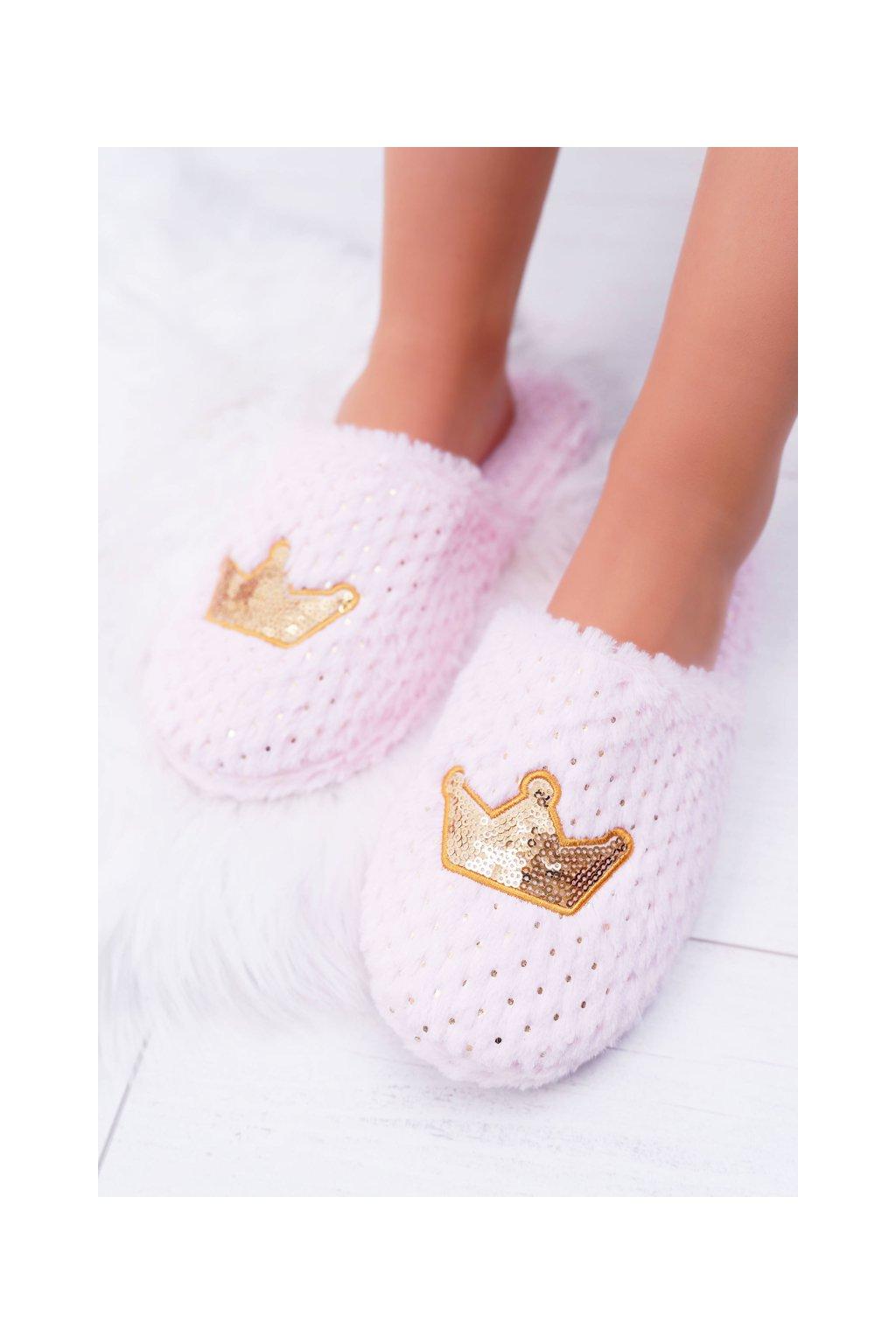 Dámske šľapky farba ružová kód obuvi 14860 PINK