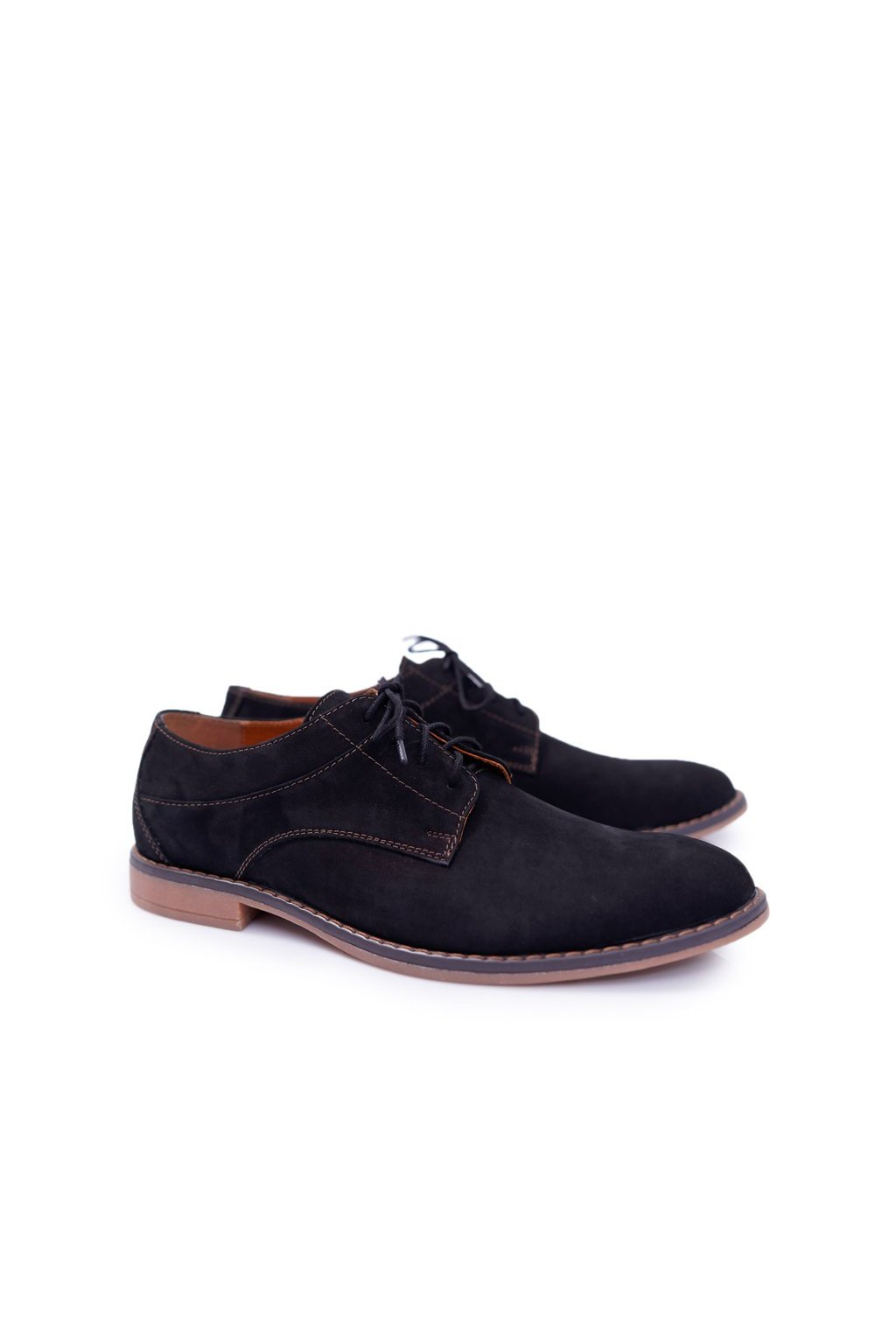 Pánske poltopánky farba čierna kód obuvi 654 NUBUCK BLK