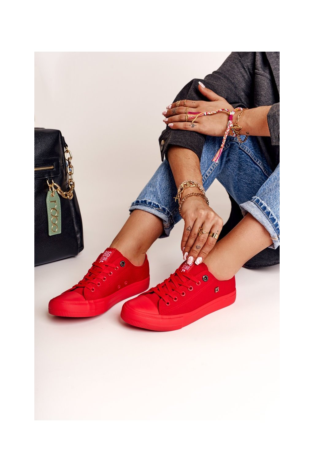 Dámske tenisky farba červená kód obuvi AA274007 RED