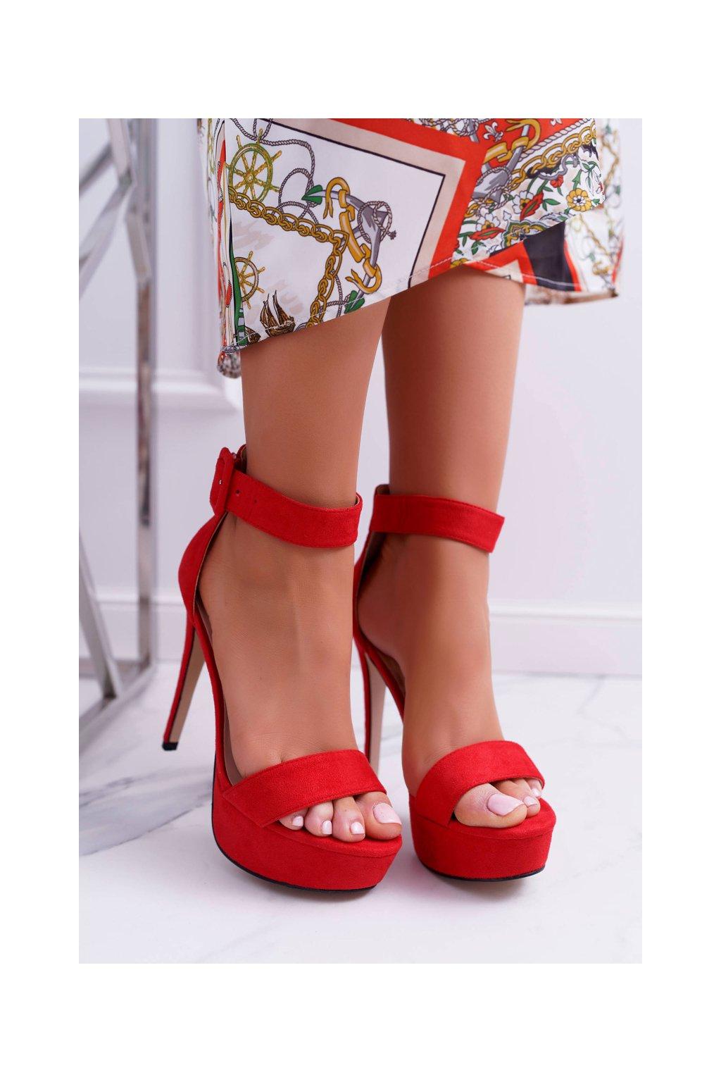 Dámske Sandále na ihlovom podpätku Plošina Červené Welbos