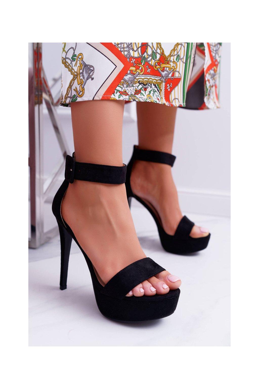 Dámske Sandále na ihlovom podpätku Plošina čierne Welbos