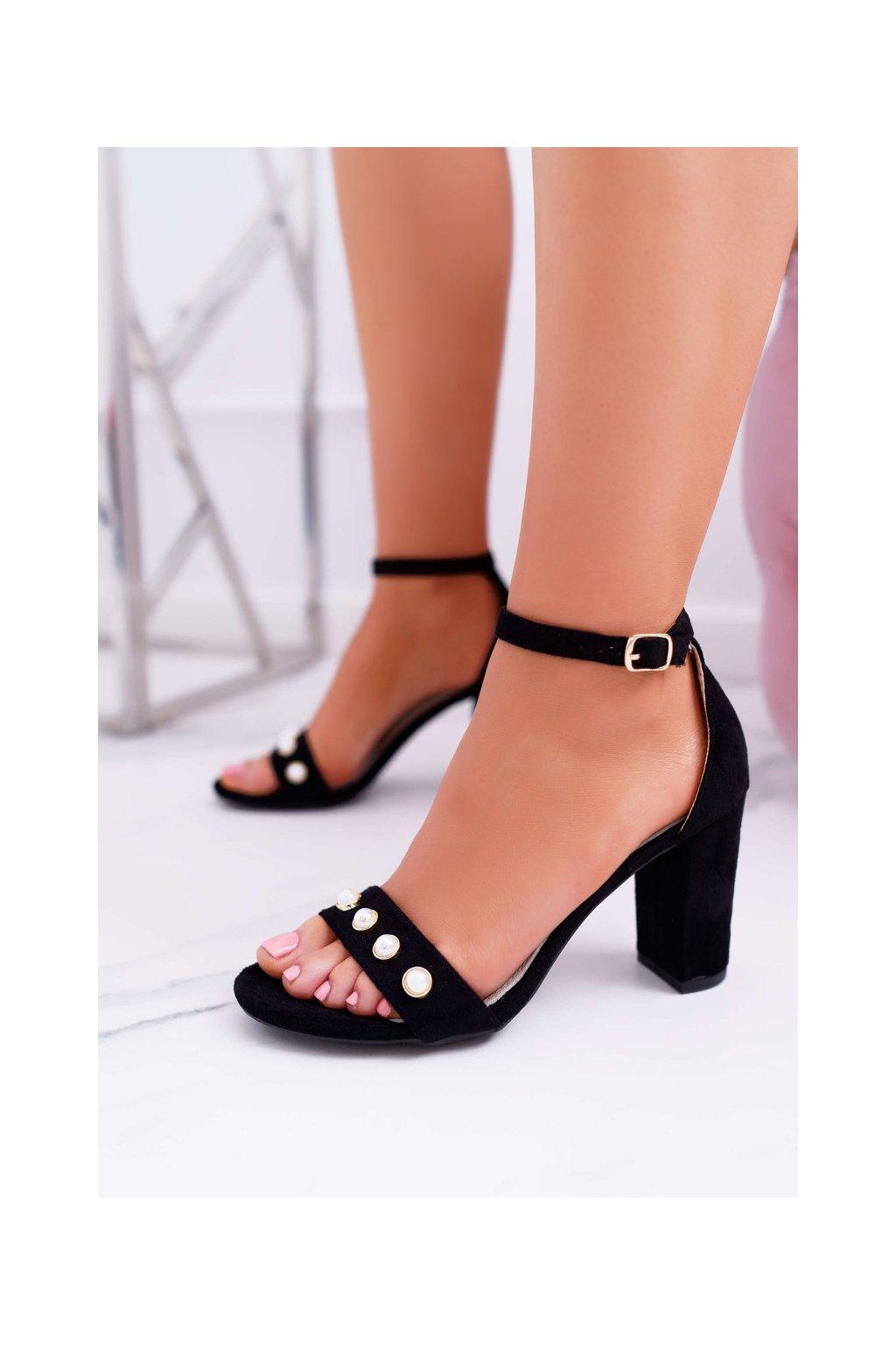 Dámske Sandále na podpätku s Perlami čierne Renes