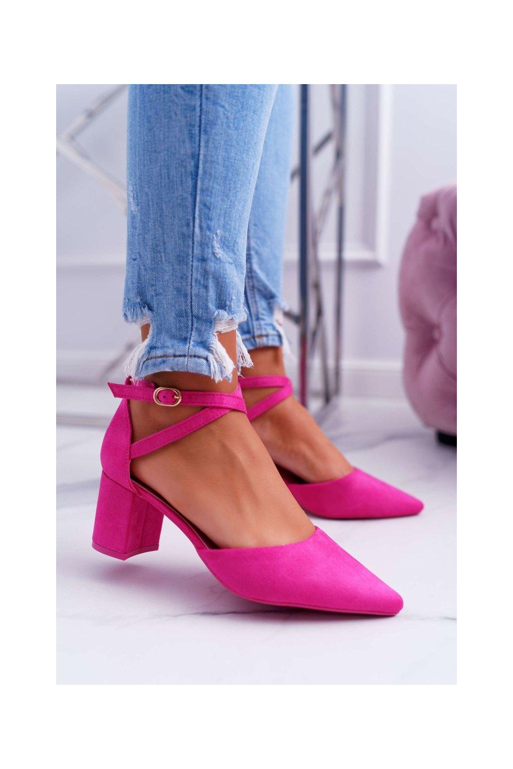 Dámske lodičky farba ružová kód obuvi LE063 FUCHSIA