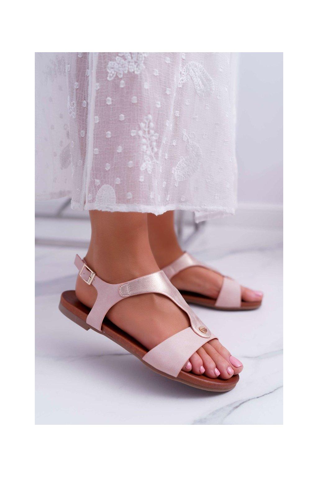 Dámske ploché sandále farba ružová kód obuvi 541-8 PINK