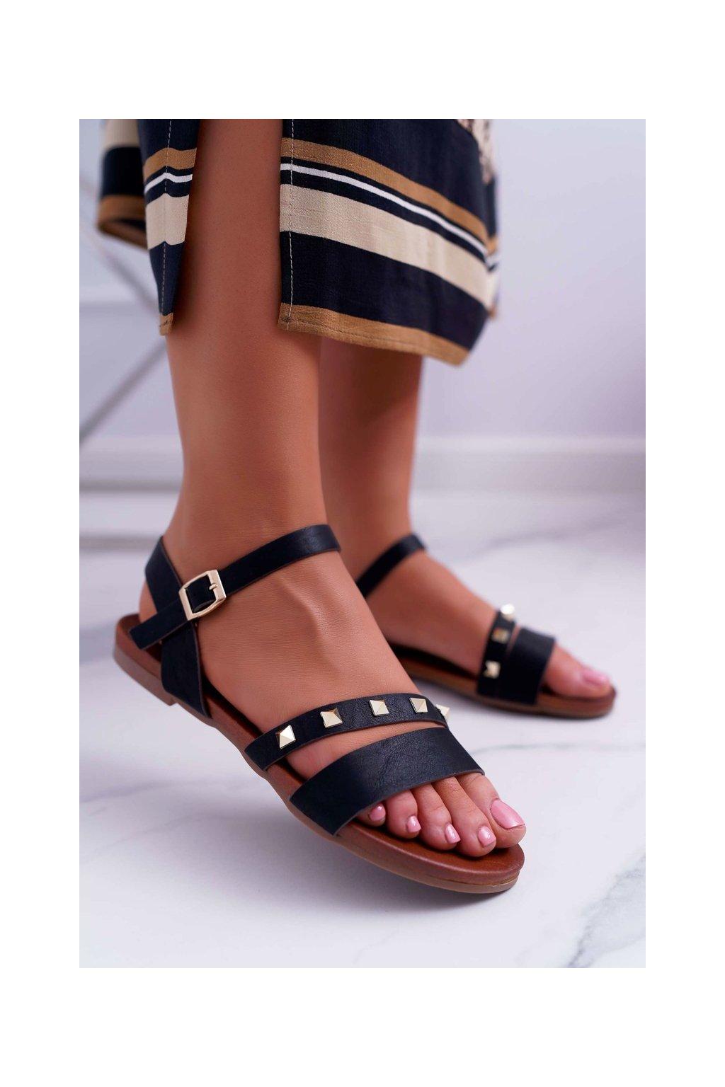 Dámske ploché sandále farba čierna kód obuvi 541-100 BLK
