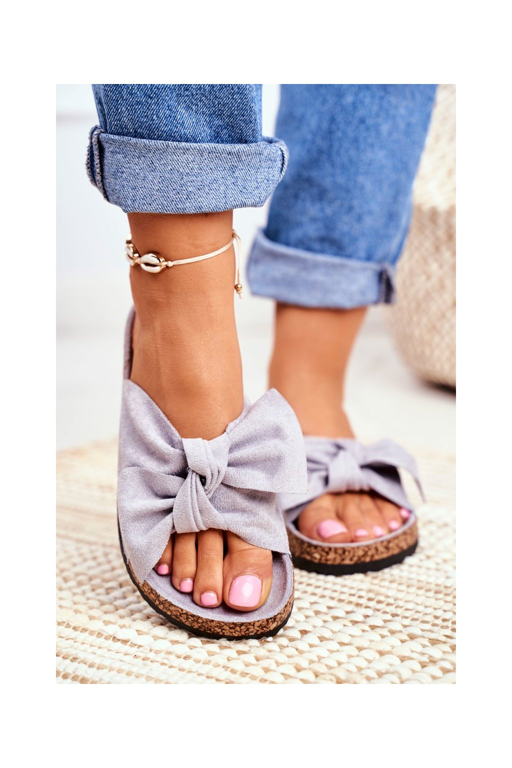 Dámske šľapky farba sivá kód obuvi CK02P GREY