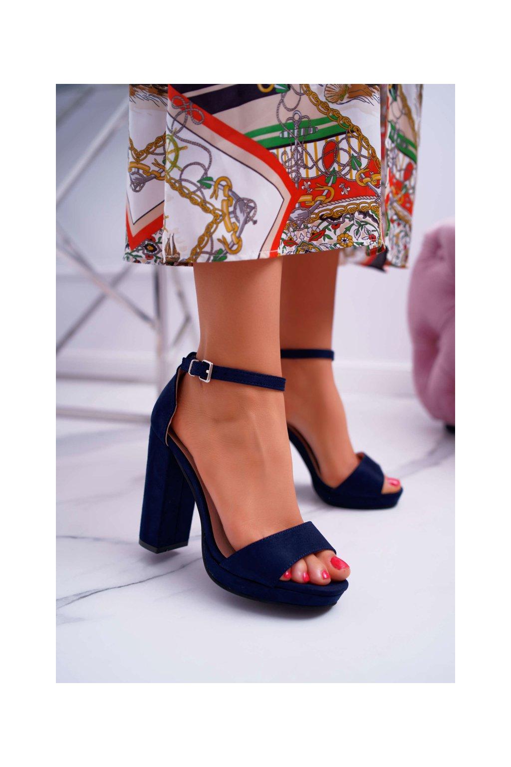 Dámske tmavo modre semišové Sandále na plošine Debora