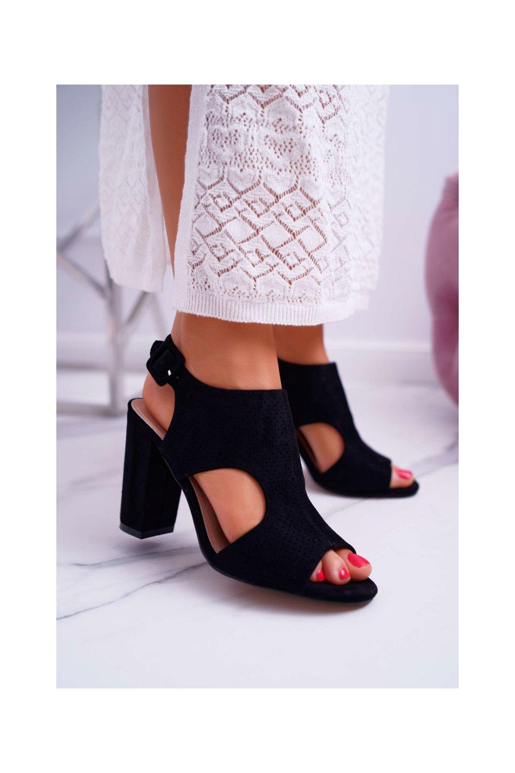 Dámske Sandále Podpatku Derované Semišové čierne HiBaby