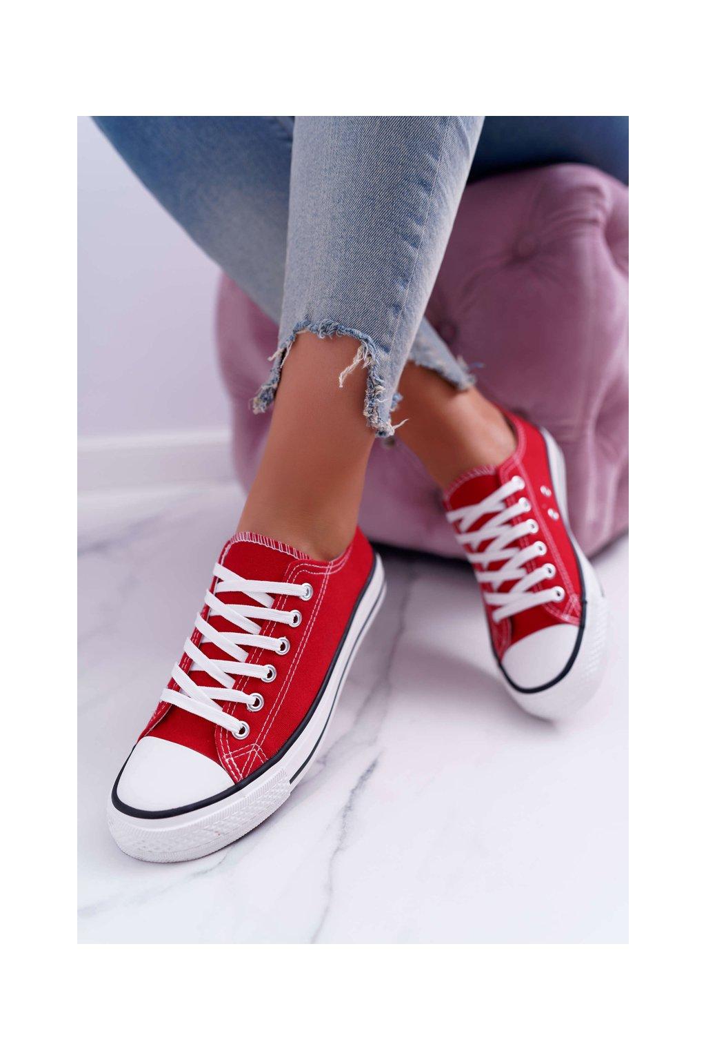 Dámske tenisky farba červená kód obuvi PQ-32 RED