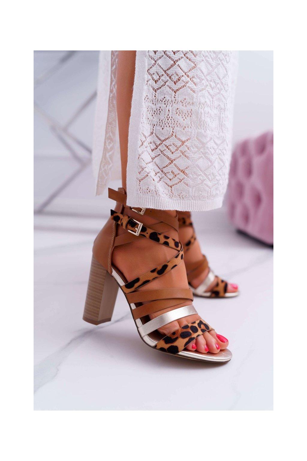 Dámske sandále farba hnedá kód obuvi LA-108 CAMEL