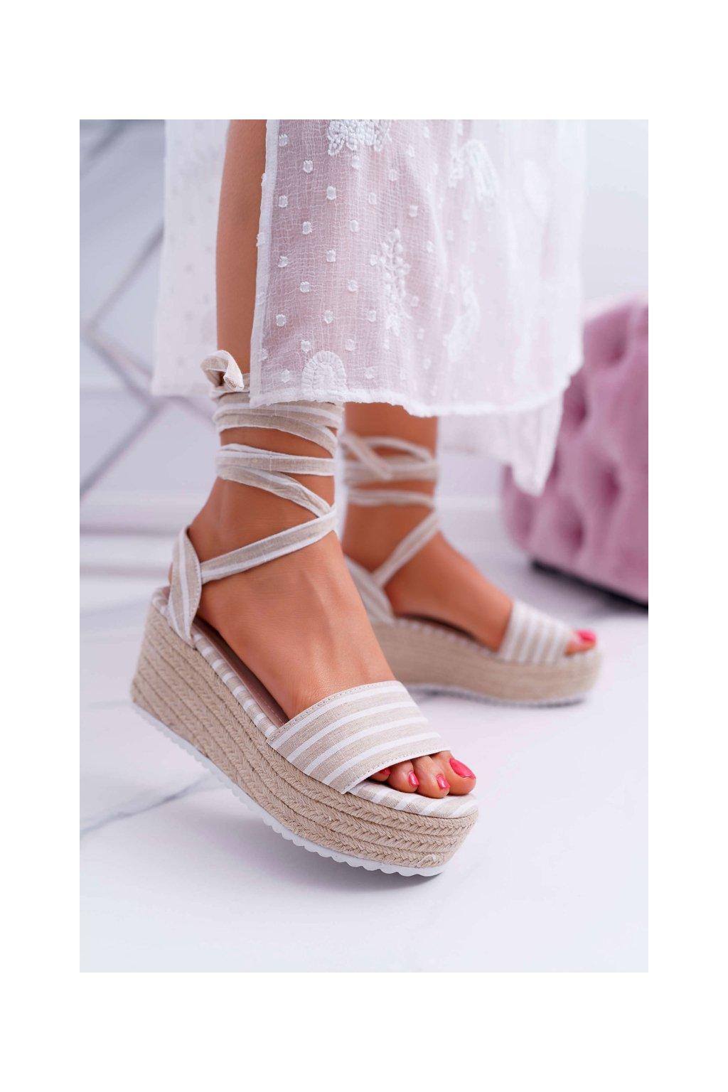Dámske Sandále na klíne šnurovacie béžové Jolyn