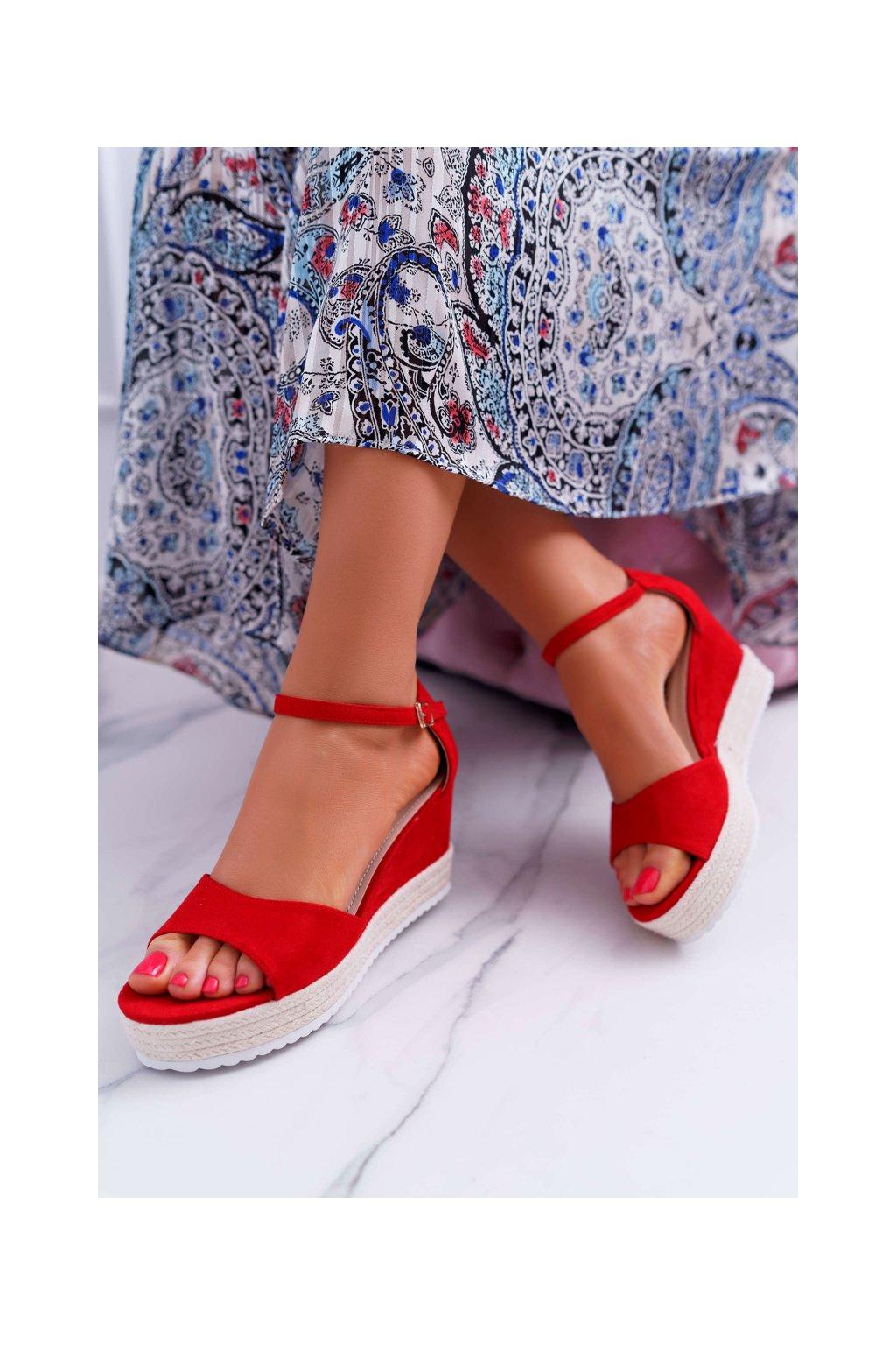 Dámske Sandále na klíne Semišové Červené Delima