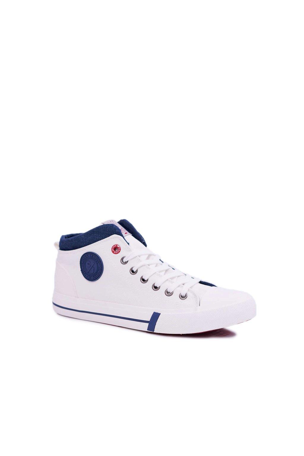 Pánske tenisky Vysoké Cross Jeans Textilní biele DD1R4056