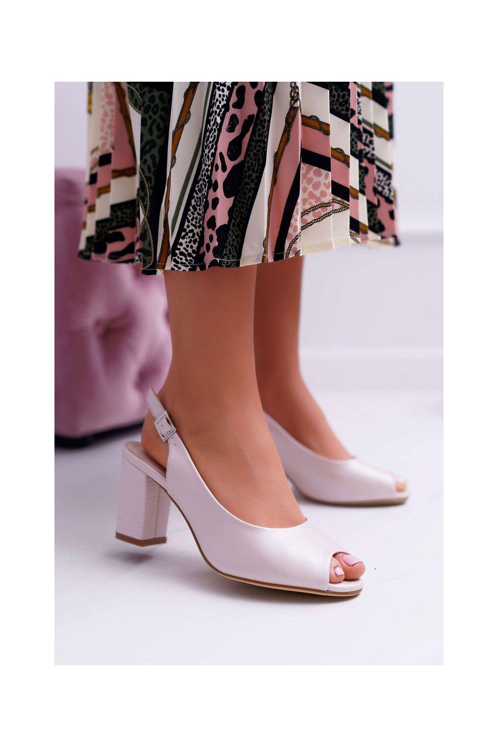 Dámske Sandále na podpätku Sergio Leone SK765 Ružové Perlové Vime