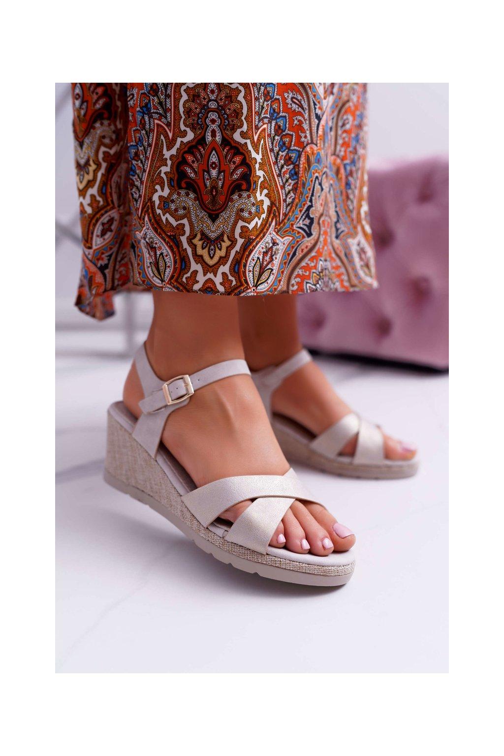 Dámske Sandále na klíne elegantné Béžové Midney