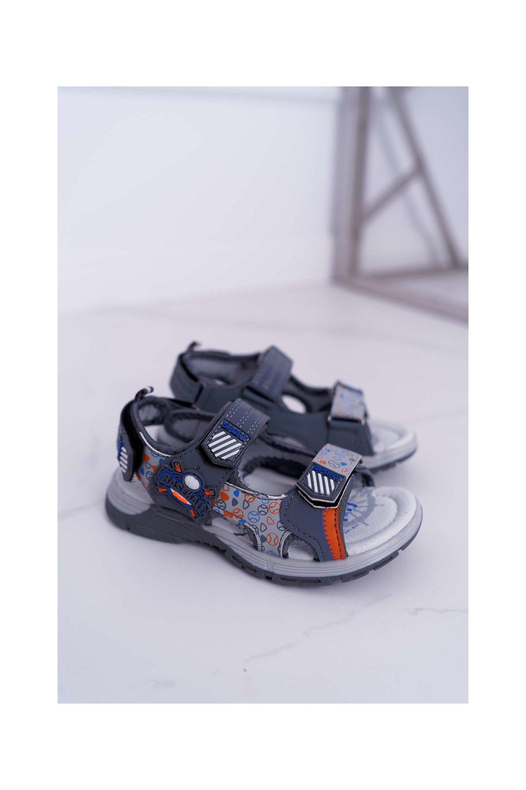 Detské chlapčenské Sandále na suchý zips sivé Reksio