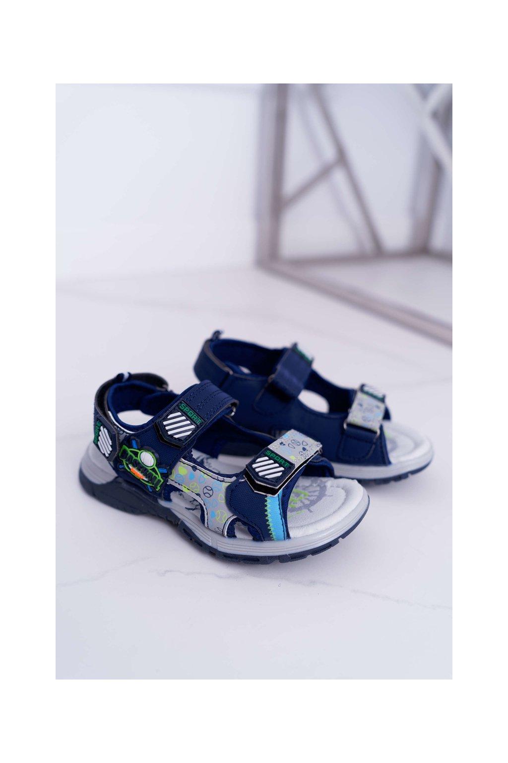 Detské chlapčenské Sandále na suchý zips tmavo modré Reksio
