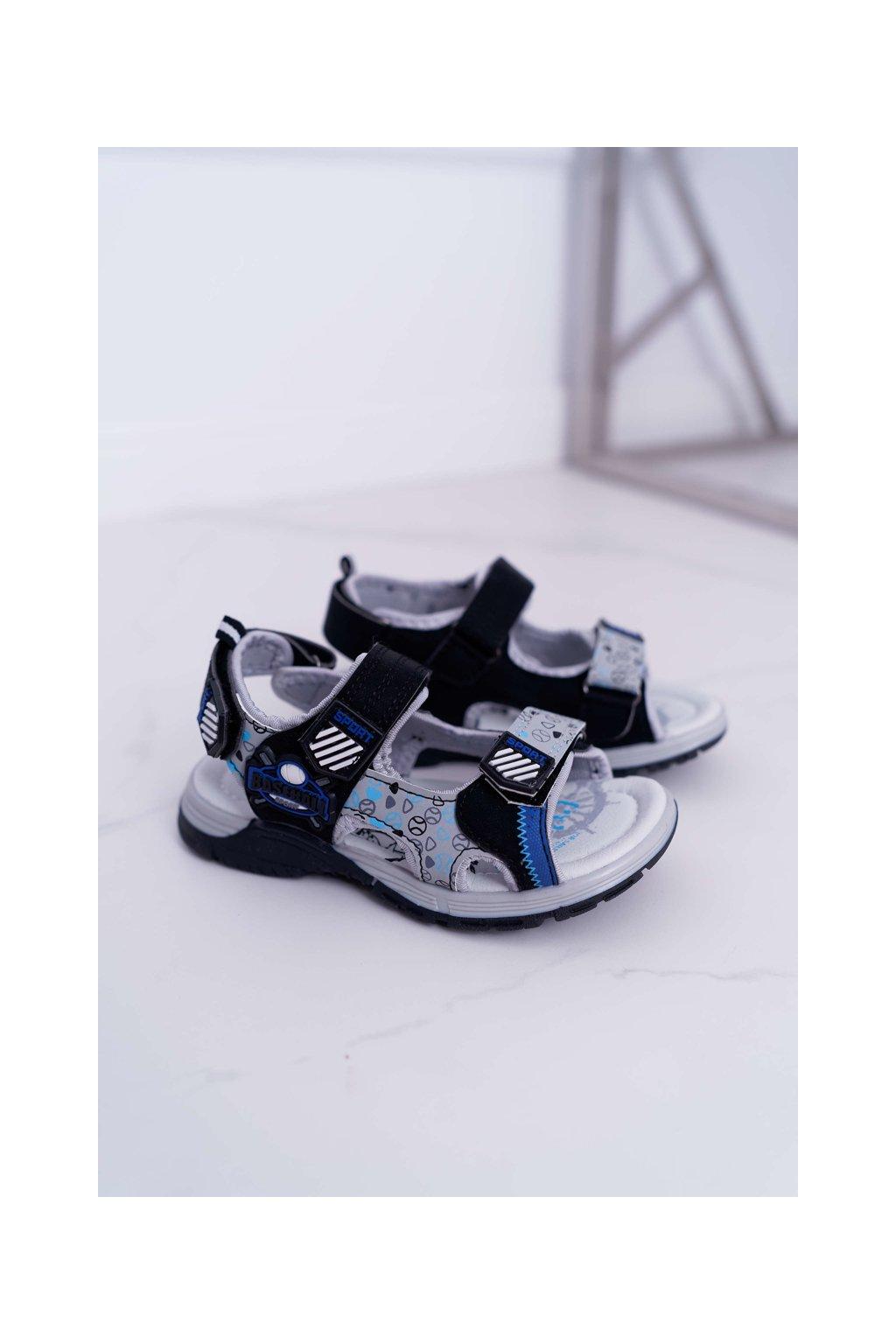 Detské chlapčenské Sandále na suchý zips čierne Reksio