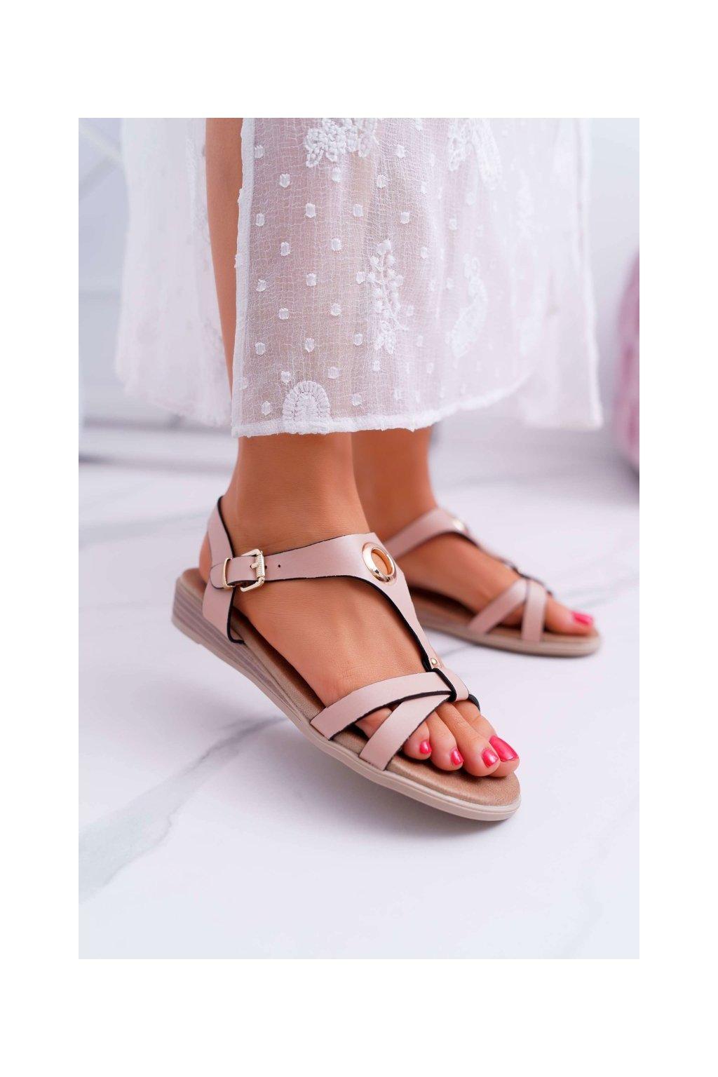 Dámske sandále s plochou podrážkou farba ružová kód obuvi 196-3 PINK