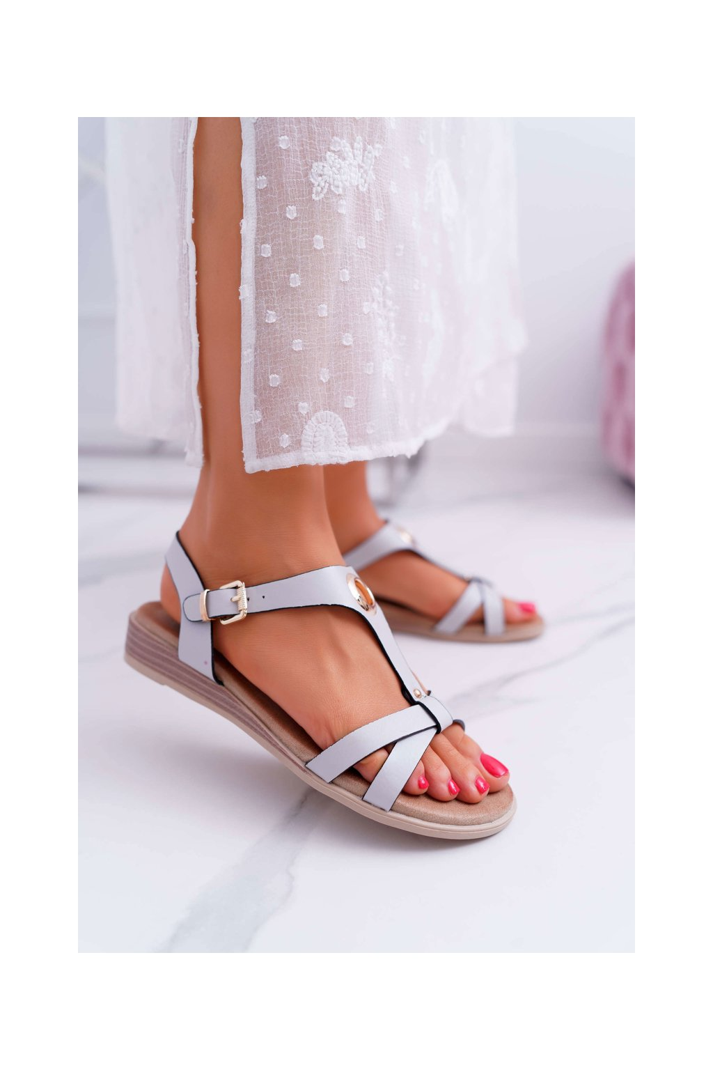 Dámske ploché sandále farba sivá kód obuvi 196-3 GREY