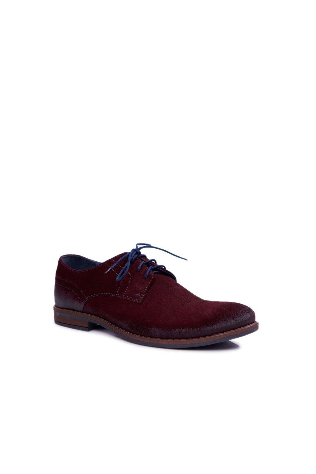 Pánske poltopánky farba červená kód obuvi 1714 BORDO