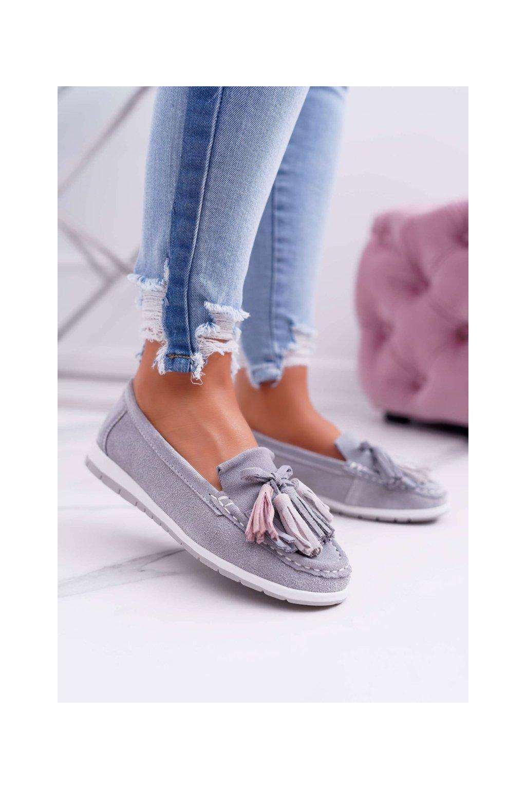 Dámske mokasíny farba sivá kód obuvi 9PB32-1078 LT.GREY
