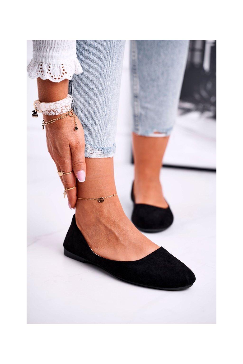 Dámske balerínky farba čierna kód obuvi 9BL02-1031 BLK