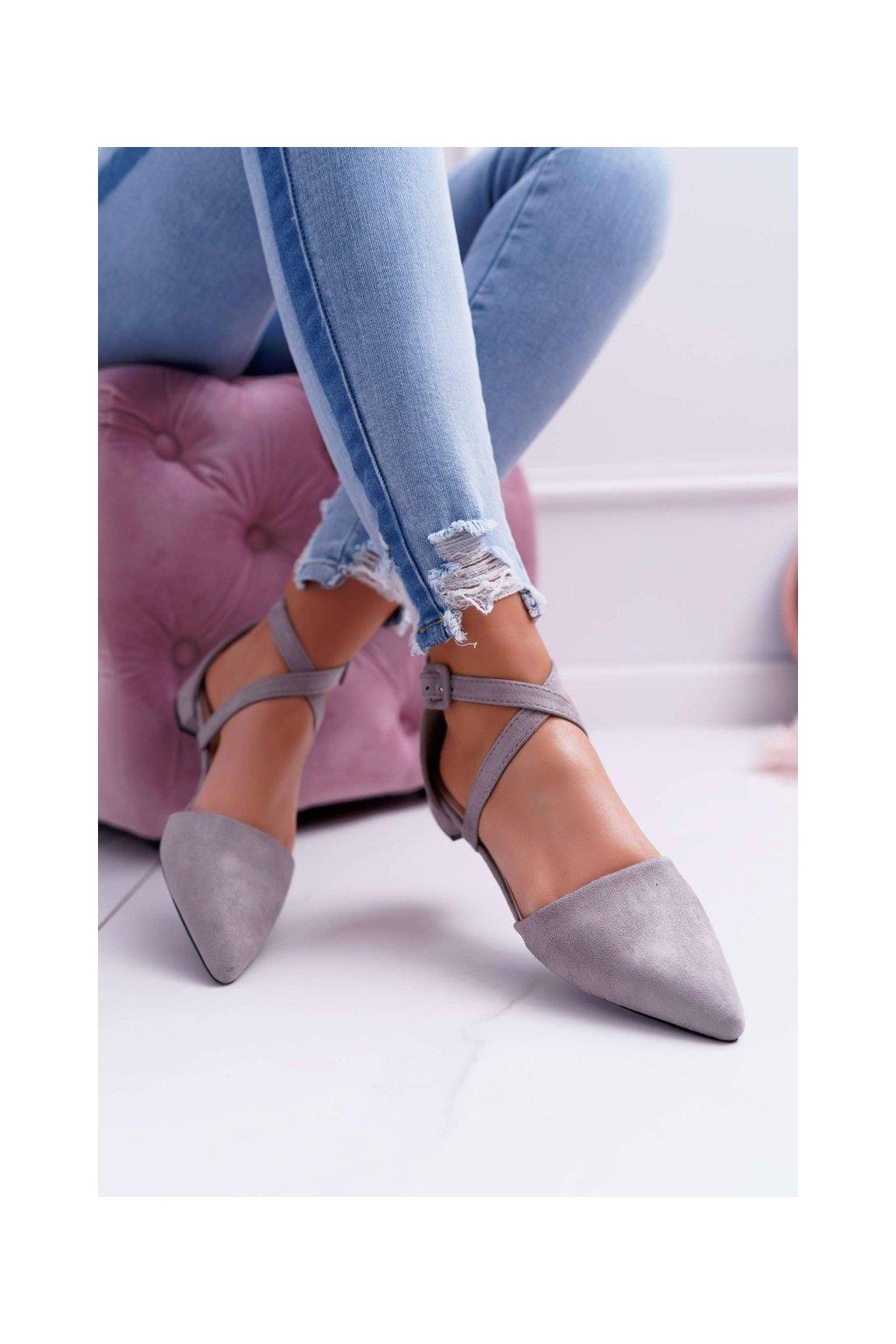 Dámske balerínky farba sivá kód obuvi LL171 GREY