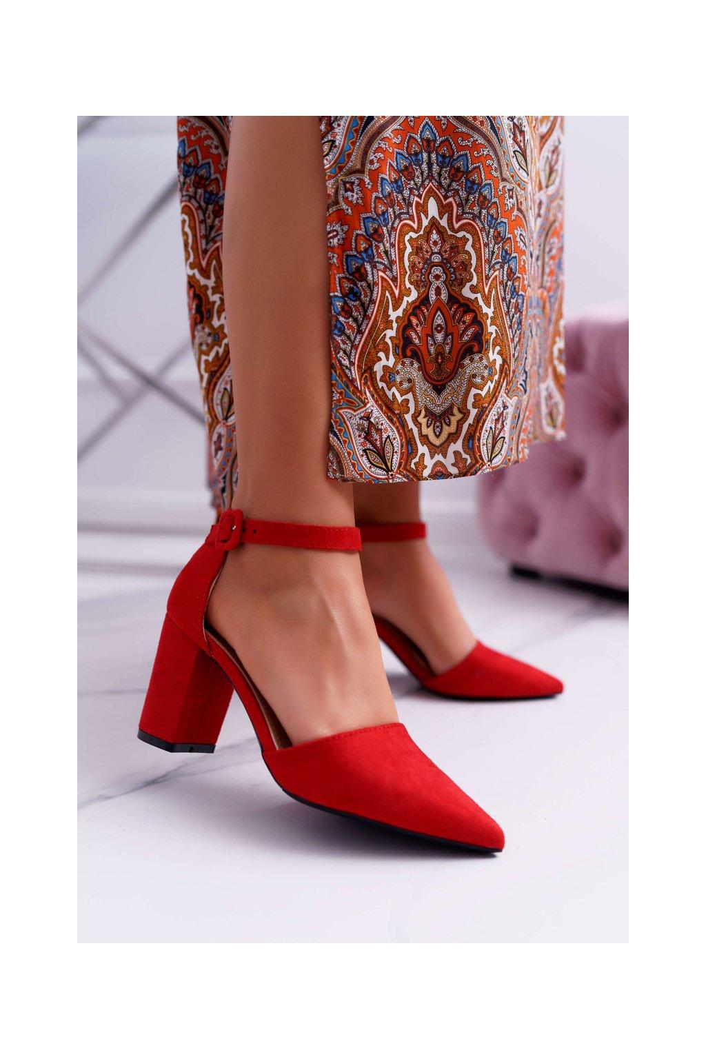 Dámske lodičky na podpätku semišové červené Elegante