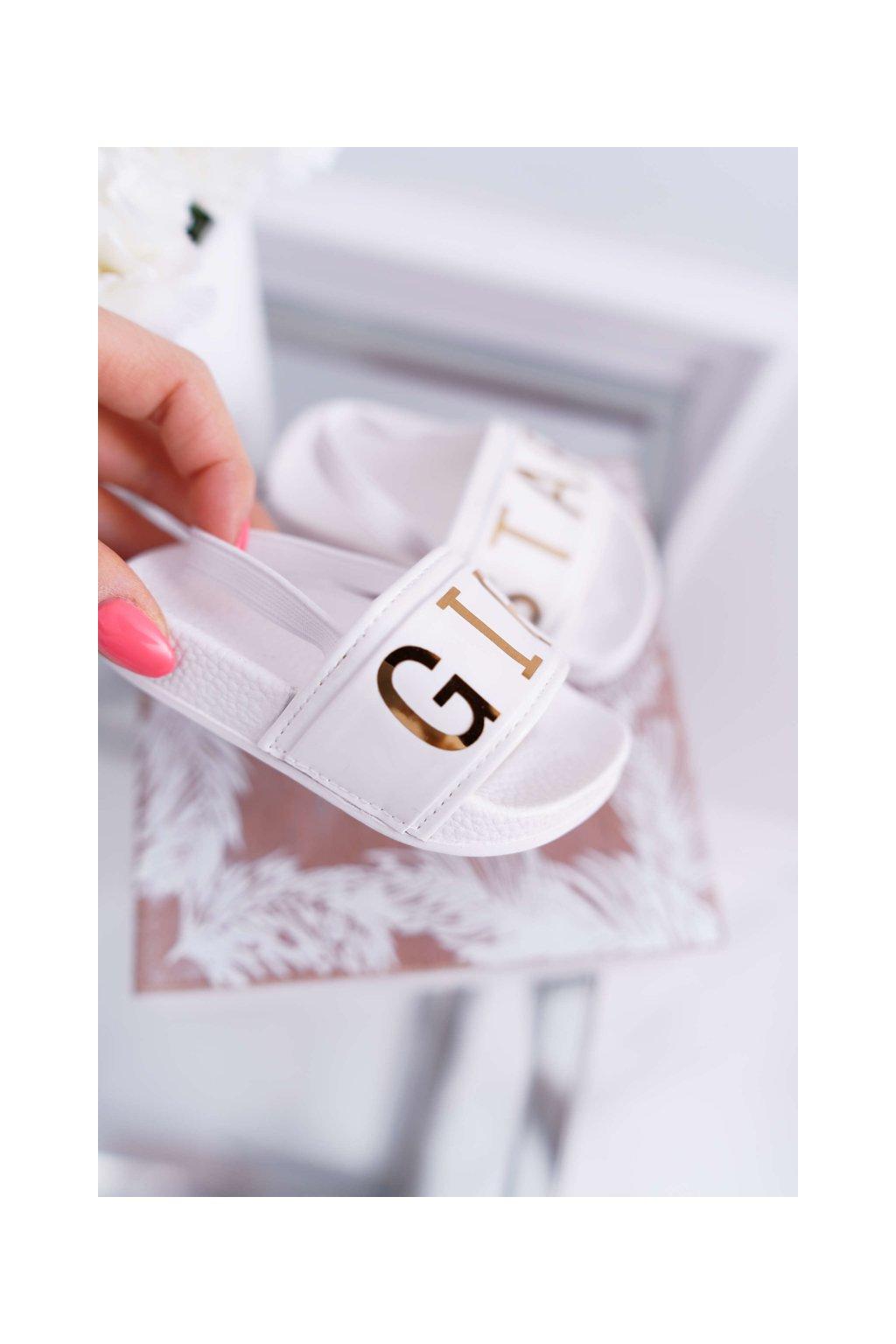 Detské Dievčenské šľapky s nápisem Girl Star biele Bambi