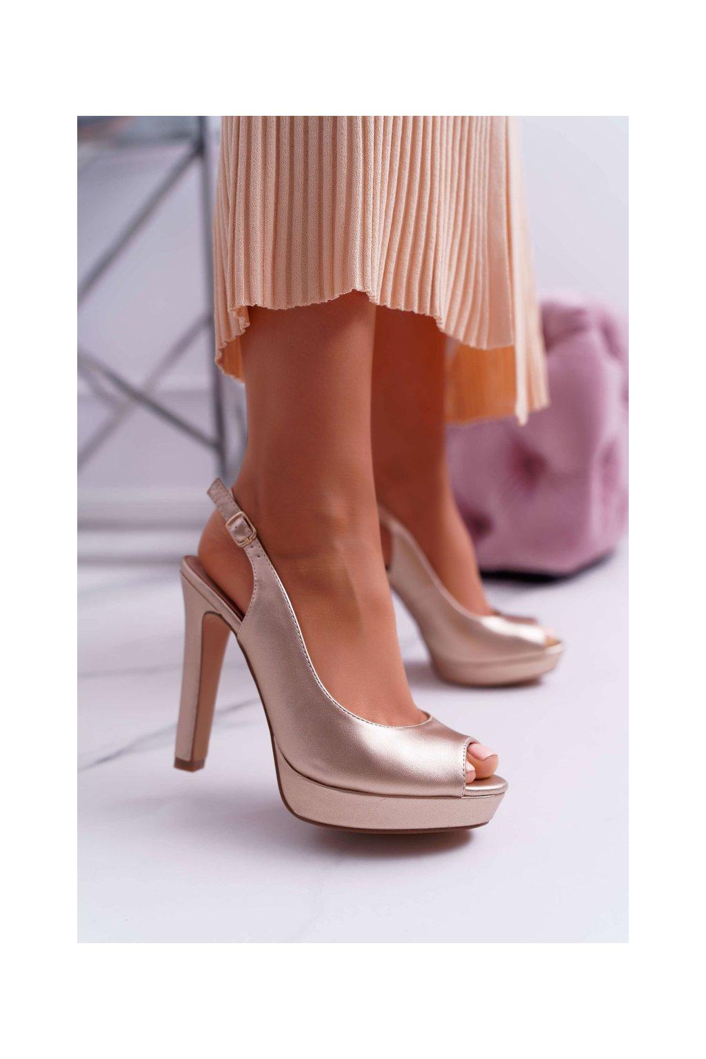 Dámske Sandále na podpätku Champagne Lorajn