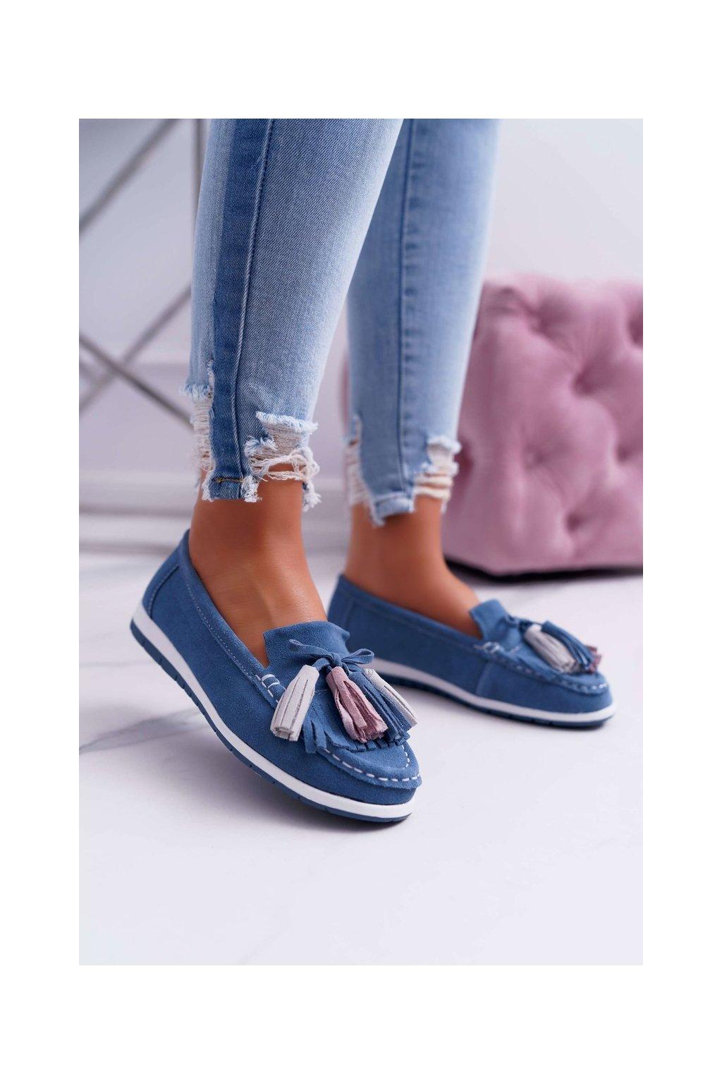 Dámske mokasíny farba modrá kód obuvi 9PB32-1078 BLUE