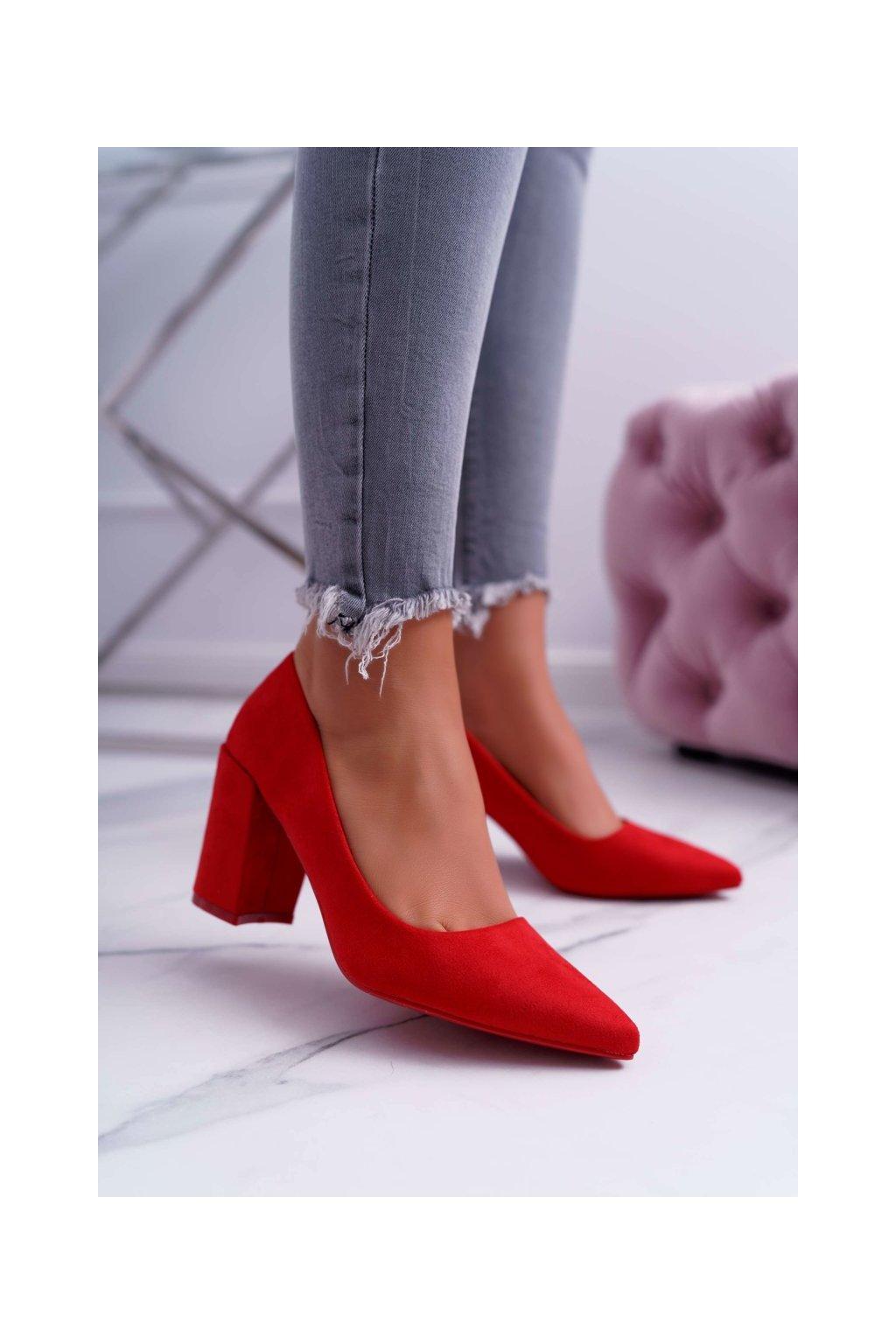 Dámske lodičky farba červená kód obuvi LE060P RED
