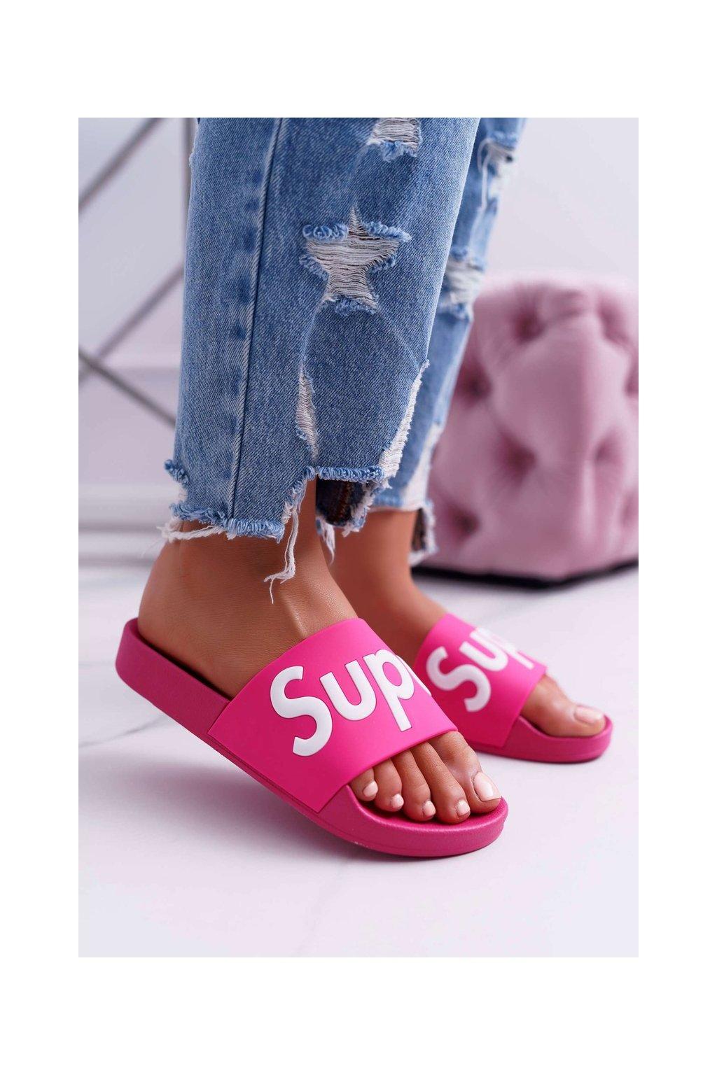 Dámske šľapky farba ružová kód obuvi CK110 FUSHIA