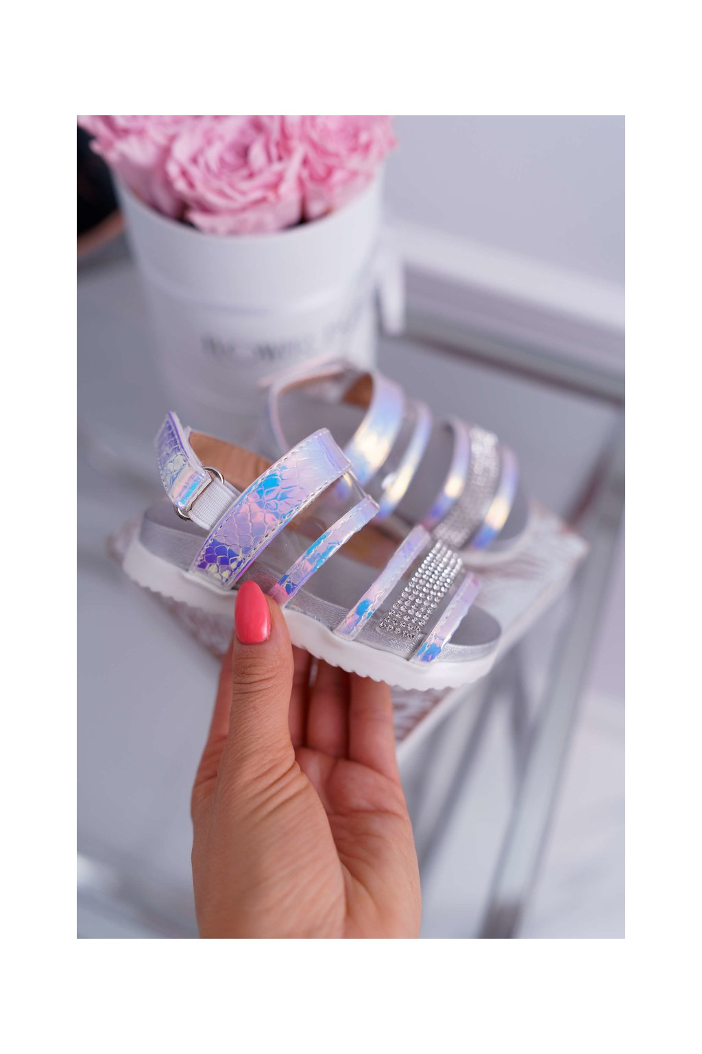 Detské Dievčenské Sandále na suchý zips biele Matilda