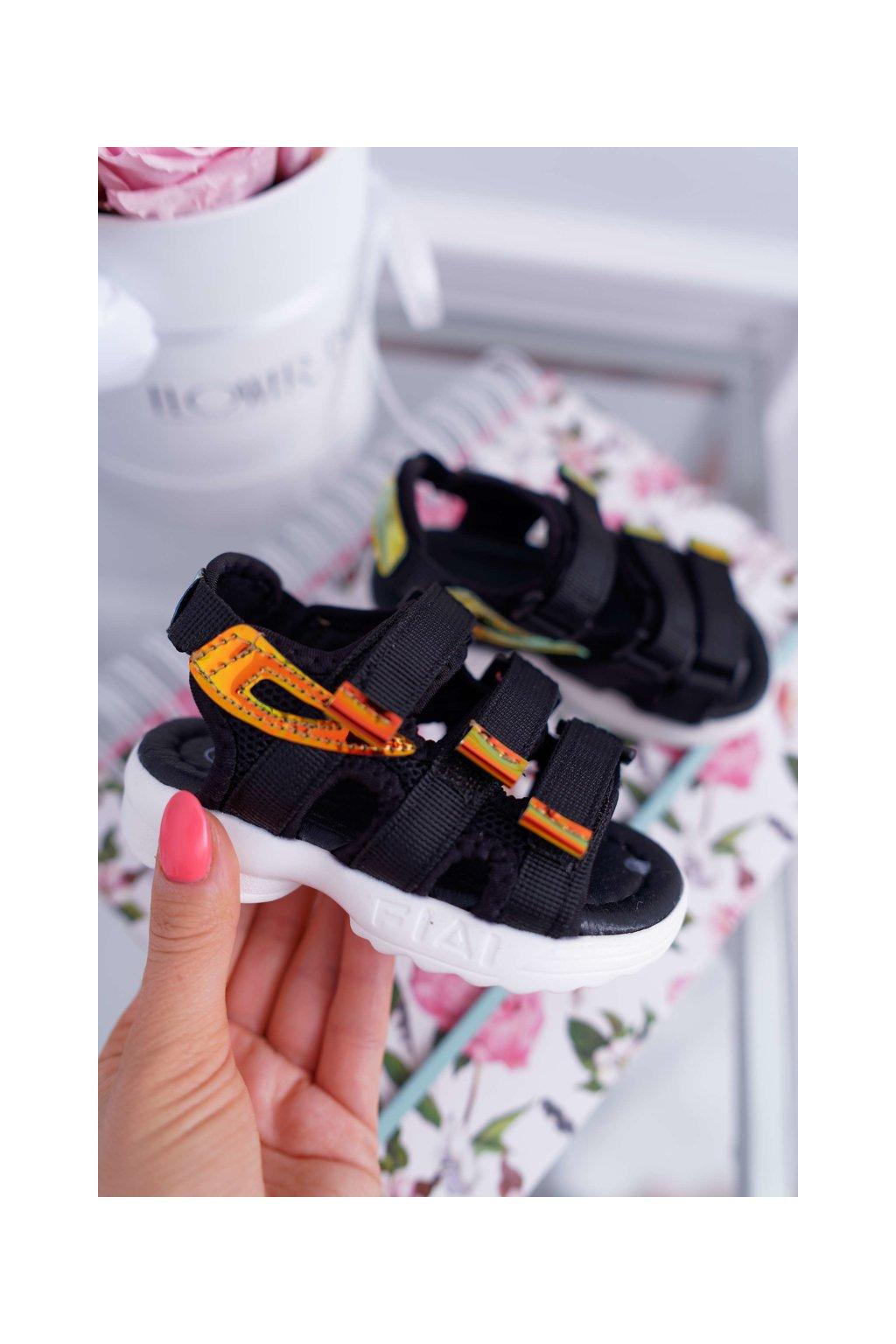 Detské sandále na suchý zips čierne Kimmi