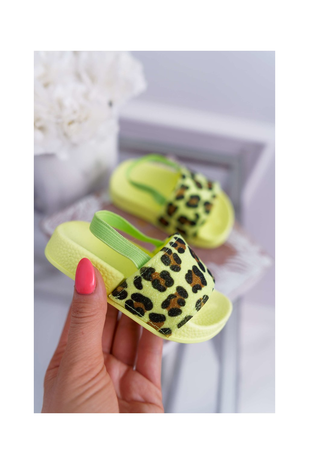 Detské šľapky farba zelená kód obuvi 291 FLUO GREEN LEO
