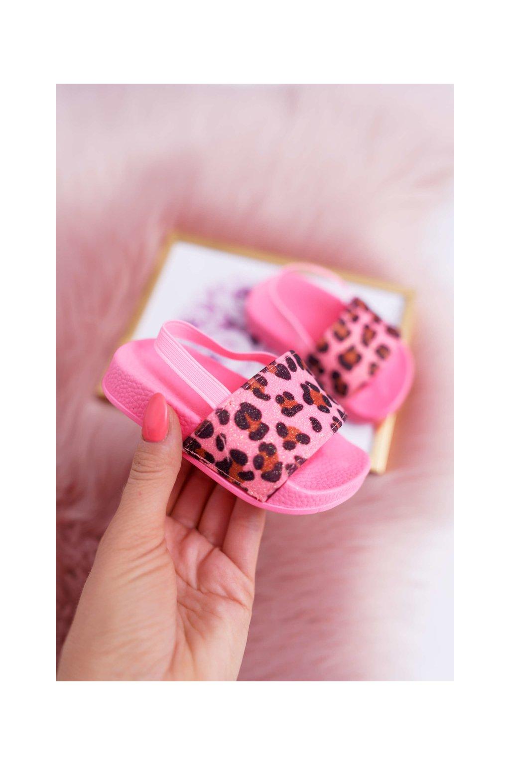 Detské Dievčenské šľapky s brokátom a leopardiem vzorom ružové Rimia