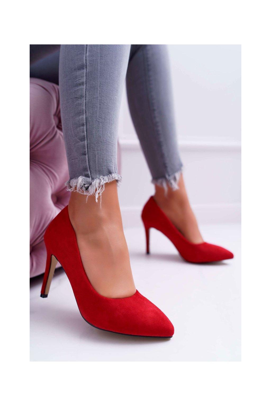 Dámske lodičky farba červená kód obuvi 9PB35-1095 RED
