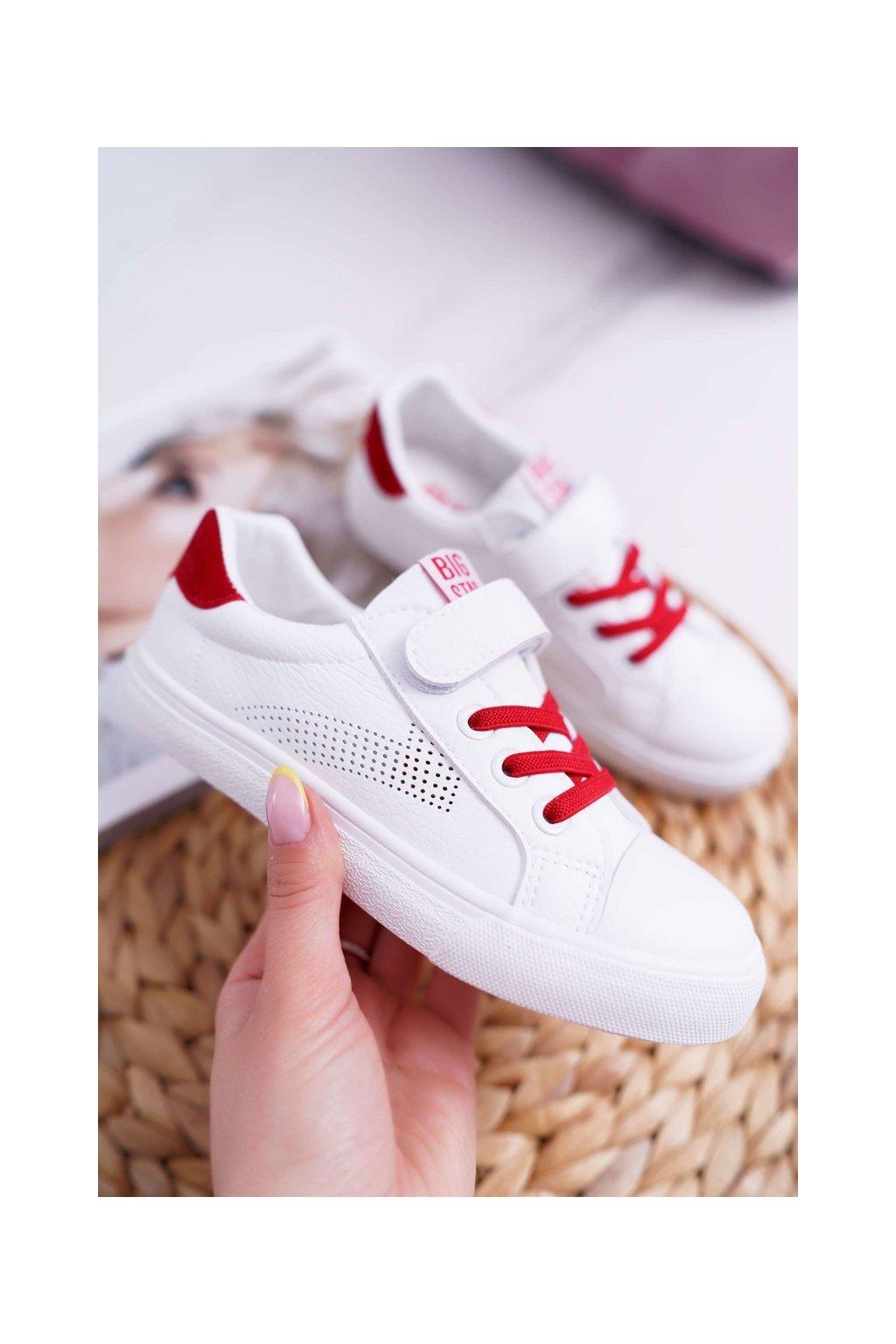 Detské tenisky farba biela kód obuvi DD374106 WHITE/RED