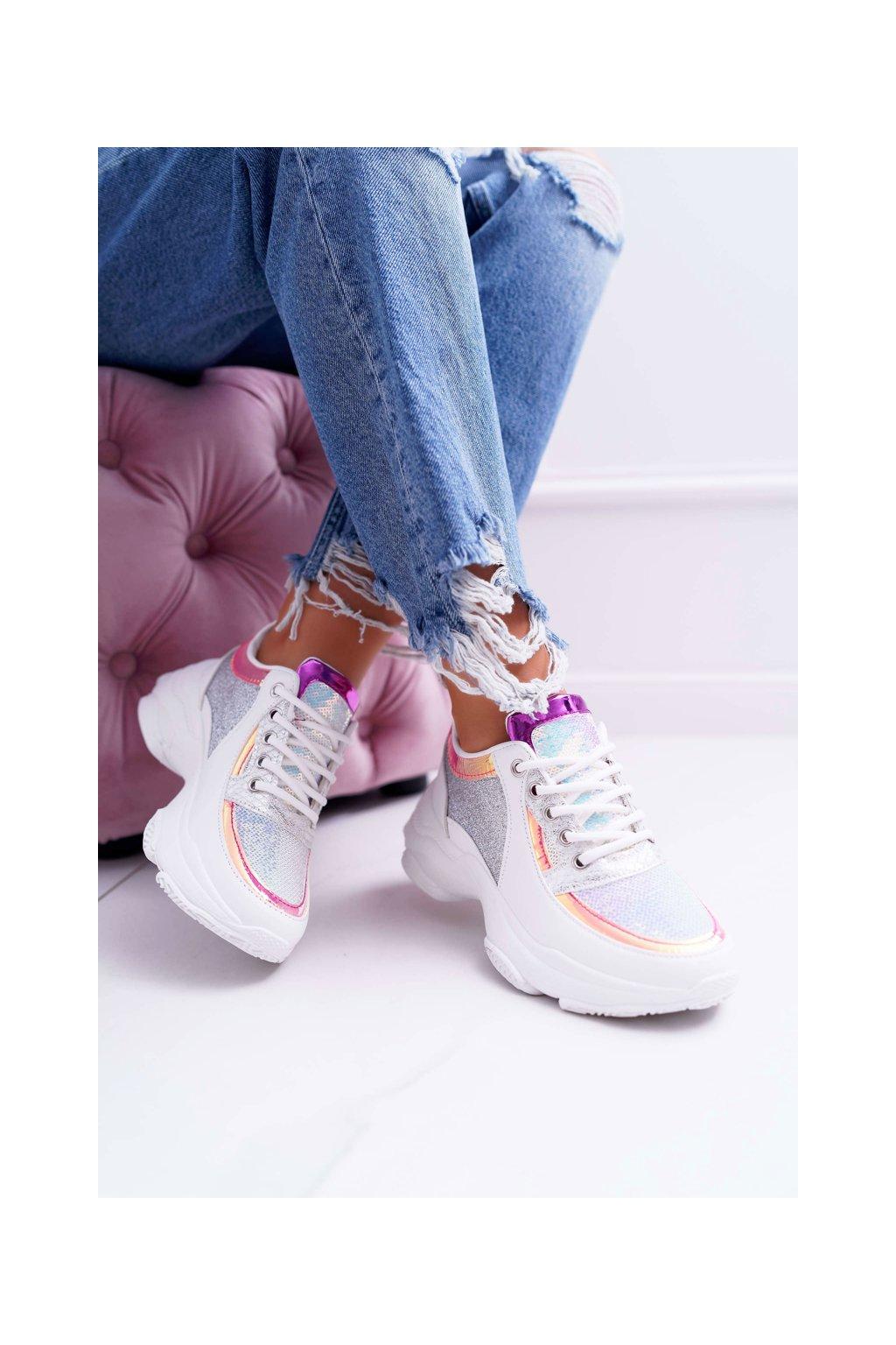 Dámska športová obuv s hrubou Podrážkou lesklé biele Ranea
