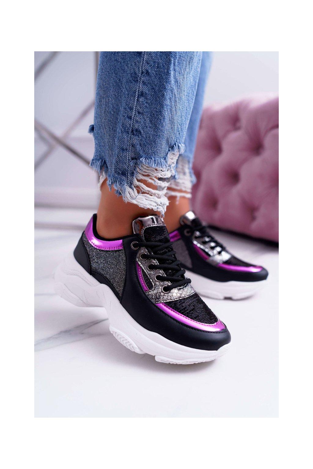 Dámska športová obuv s hrubou Podrážkou lesklé čierne Ranea