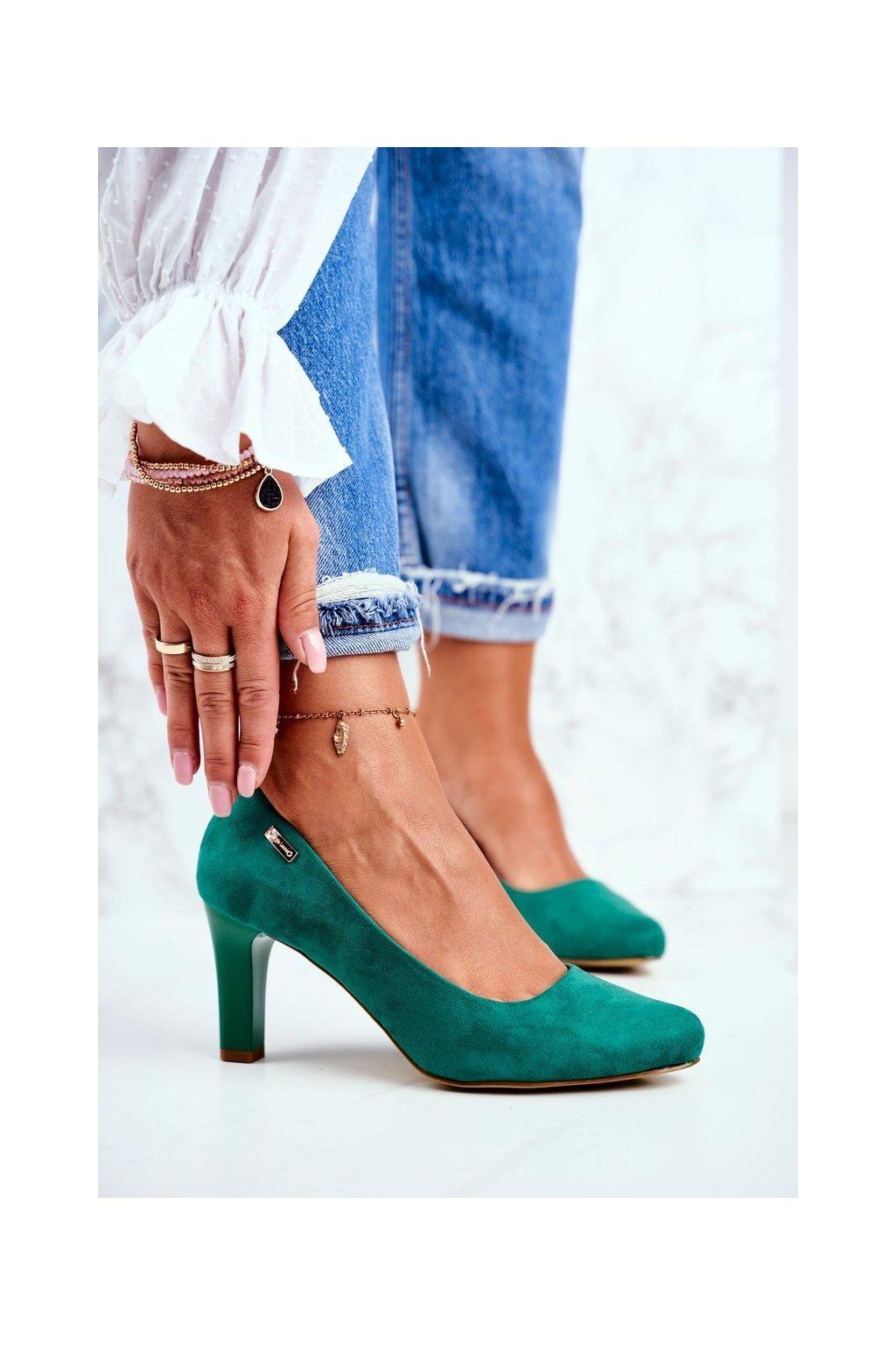 Dámske lodičky farba zelená kód obuvi 1459 J.ZIELONY ZAMSZ