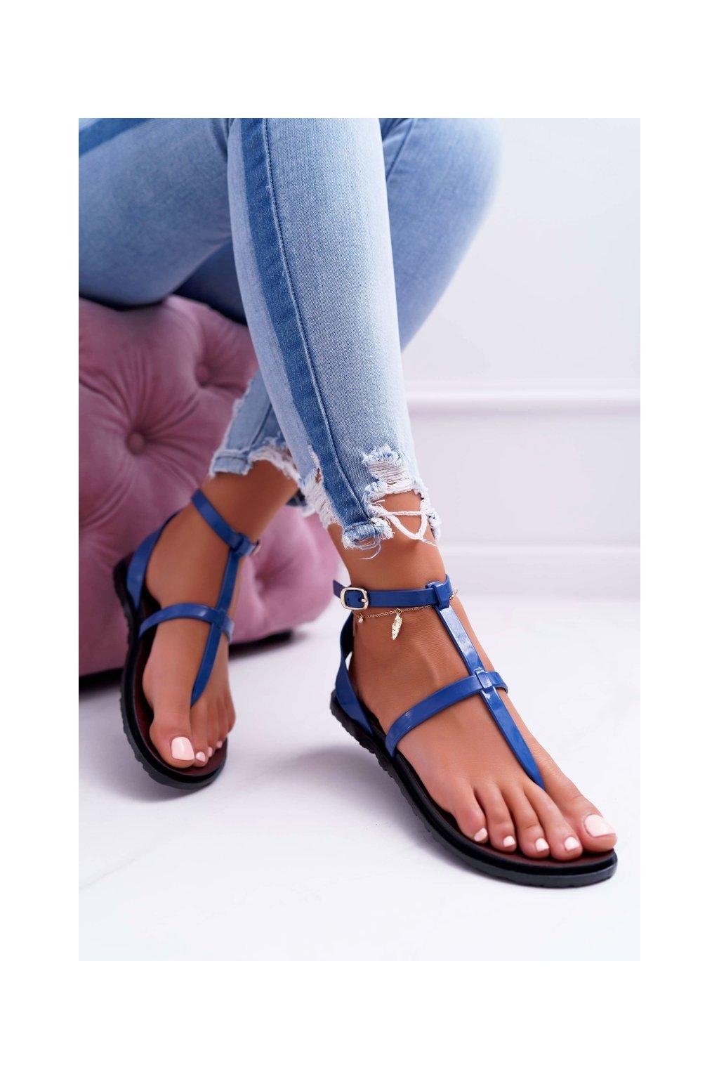 Dámske sandále s plochou podrážkou farba modrá kód obuvi LS01 NAVY