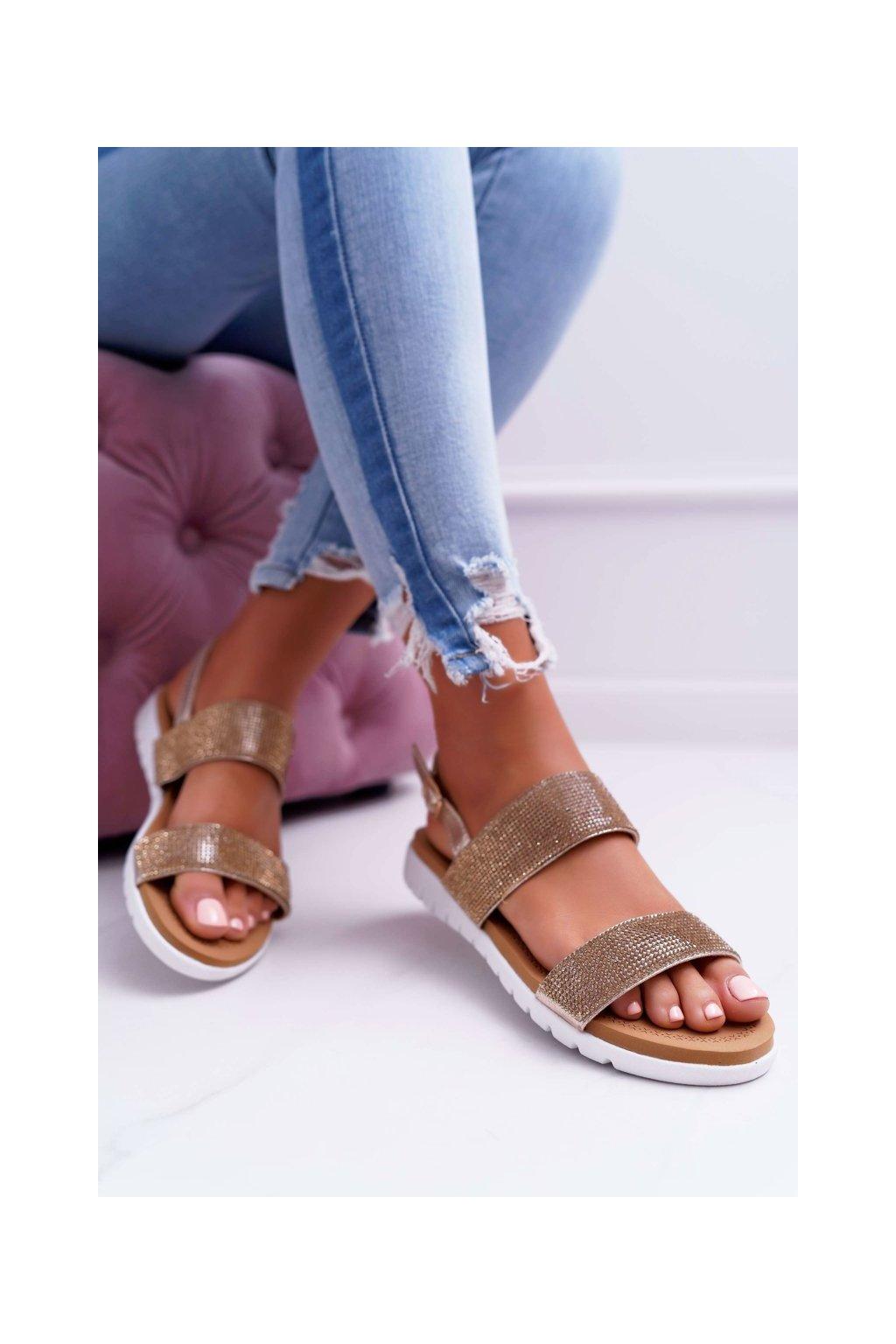 Dámske ploché sandále farba žltá kód obuvi 406-3 GOLD