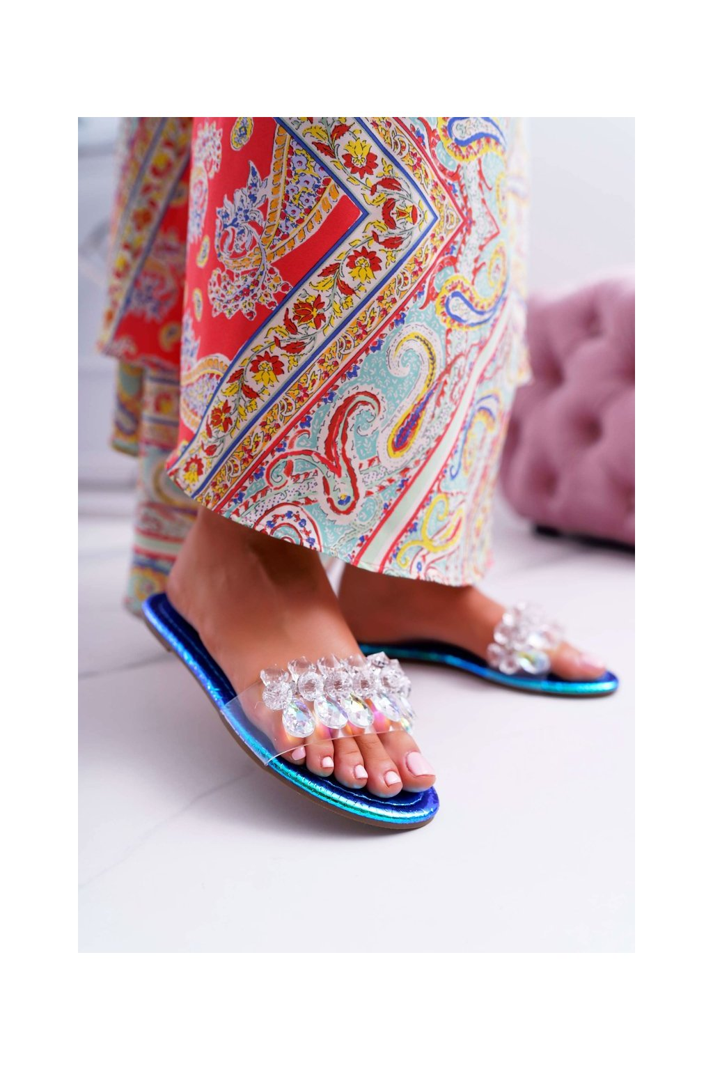 Dámske šľapky farba modrá kód obuvi SF23 BLUE