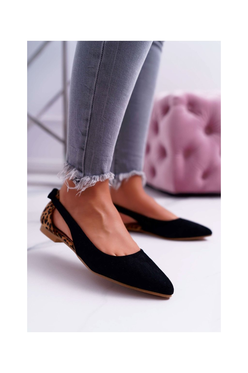 Dámske balerínky farba čierna kód obuvi A978-1 BLK/CAMEL