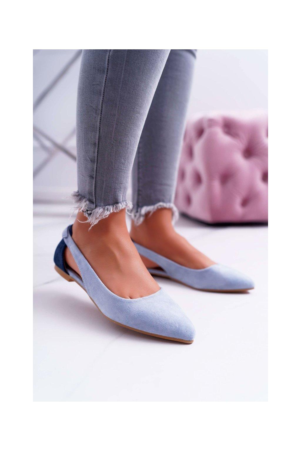 Dámske balerínky farba modrá kód obuvi A978-300 L.BLUE/D.BLUE