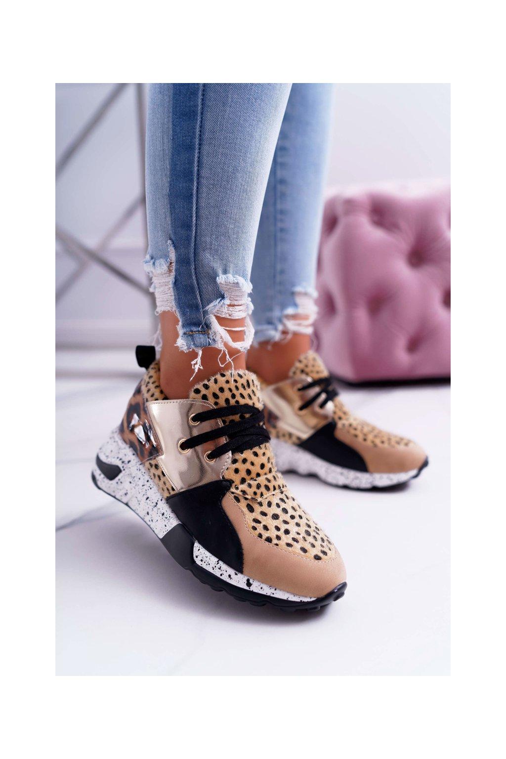 Dámska športová obuv Lu Boo s hrubou Podrážkou Leopard Malibu