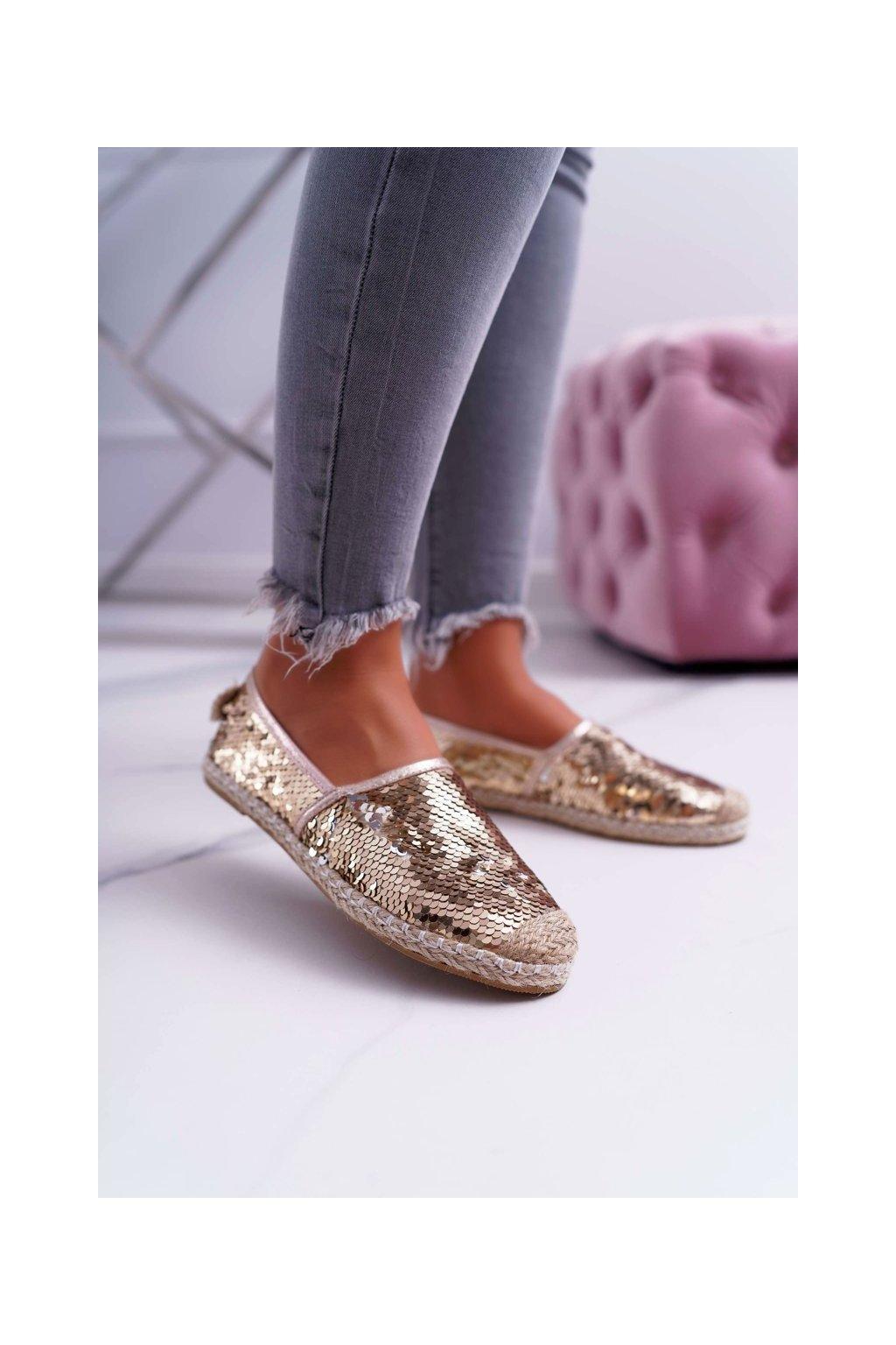 Dámske espadrilky farba žltá kód obuvi 2870-5 GOLD